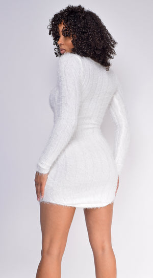Sia Ivory White Feather Knit Long Sleeve Dress