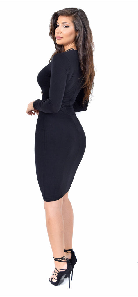 Amara Black Long Sleeve Dress - Emprada