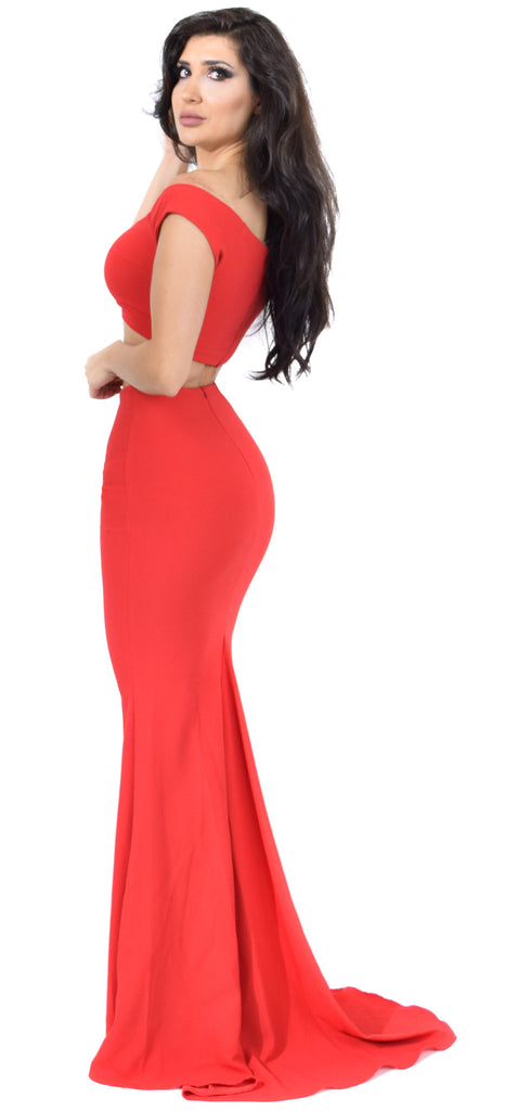 Red Off Shoulder Maxi Two Piece Set Dress