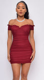 Never Again Wine Red Off Shoulder Ruched Dress