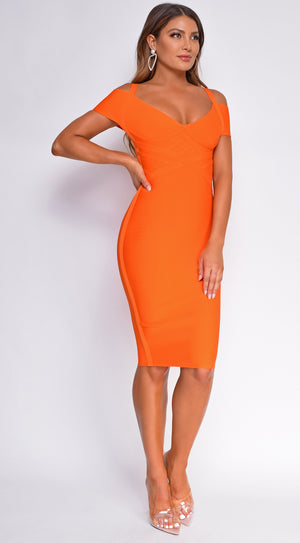 Selia Orange Off Shoulder Bandage Dress