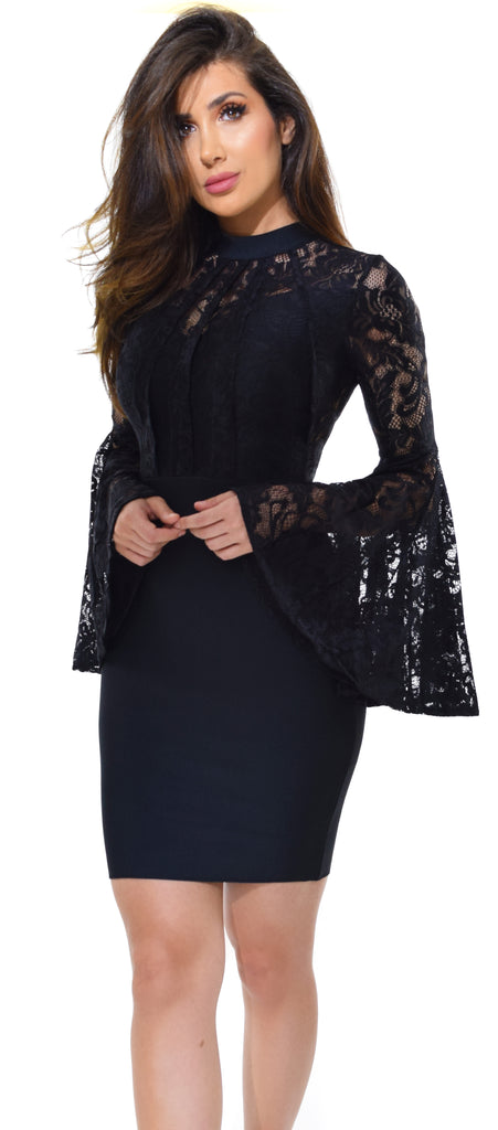 Naiz Black Lace Bell Sleeve Bandage Dress - Emprada