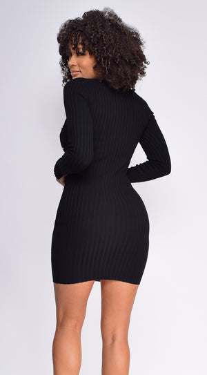 Mae Black High Neck Side Button Down Ribbed Dress