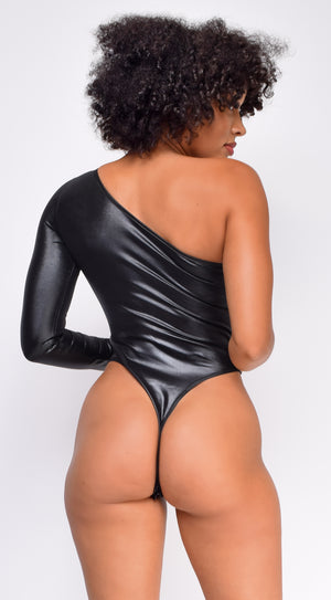 Mallory Black Faux Leather One shoulder Bodysuit