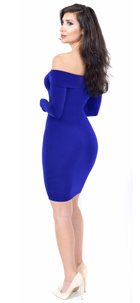 Jenelle Royal Blue Off Shoulder Midi Dress - Emprada