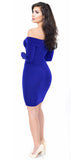 Jenelle Royal Blue Off Shoulder Midi Dress