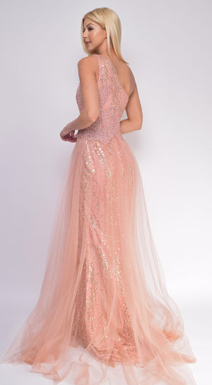 Mila Rose Gold One Shoulder Gown