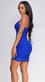 Huda Royal Blue Mesh Front Ruched Dress