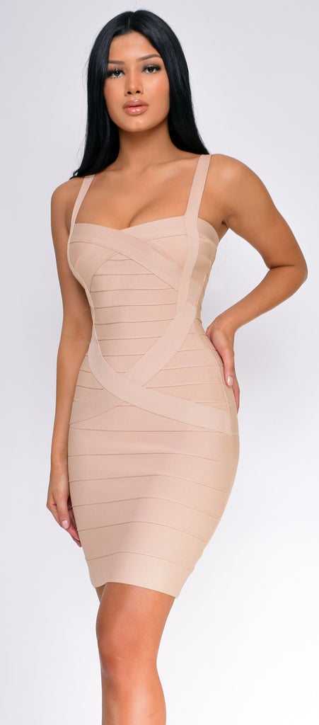 Cynthia Nude Bandage Dress - Emprada
