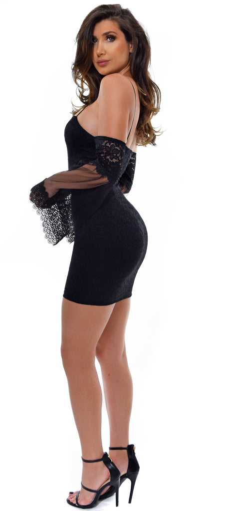 Ariel Black Lace Mesh Bell Sleeve Dress - Emprada