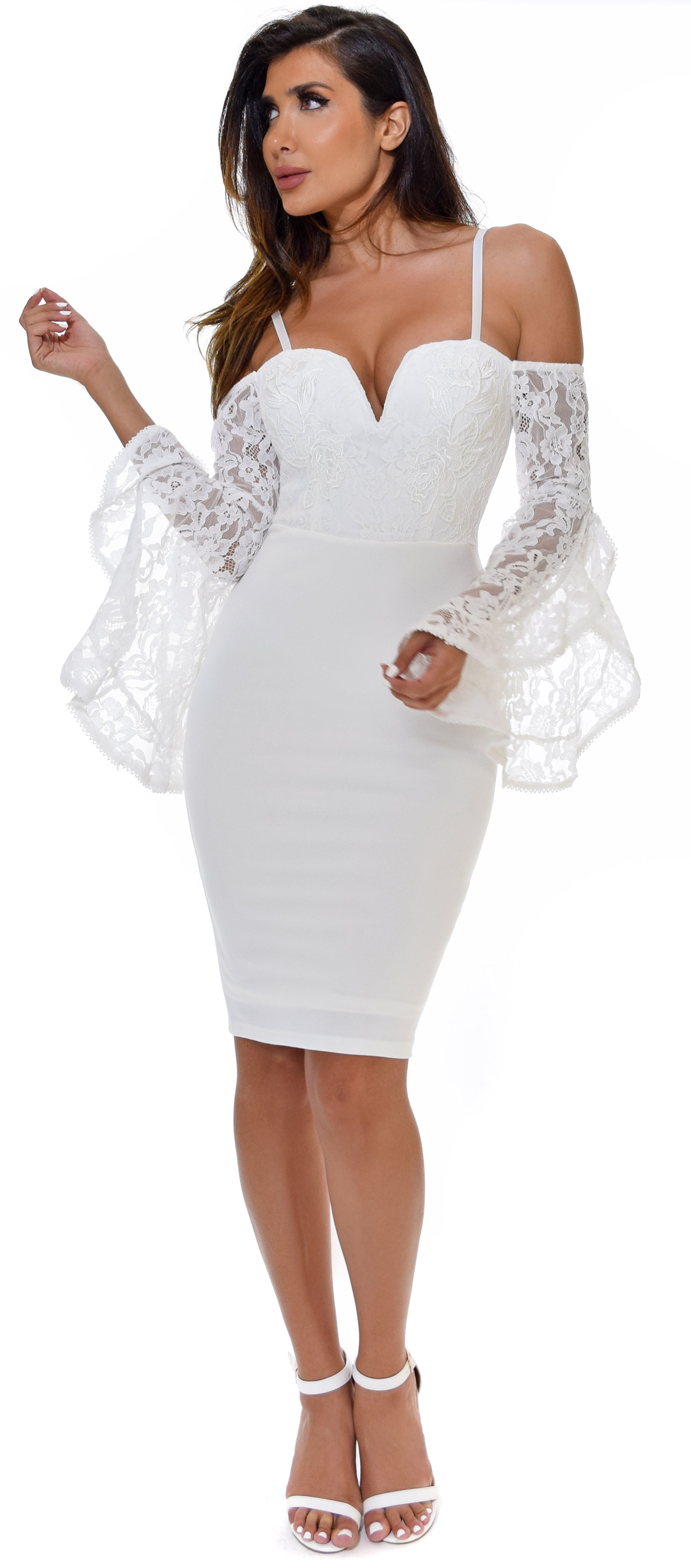 Shanina White Lace Bell Sleeve Dress
