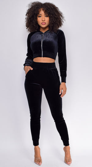 Too Cool For That Black Velour Crop jacket & Joggers Set