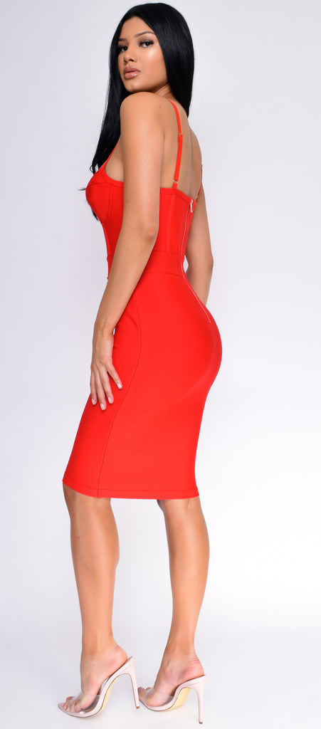 Nelinha Red Gold Button Bandage Dress