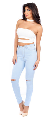 Sky Light Stone Wash Knee Cut Jeans - Emprada