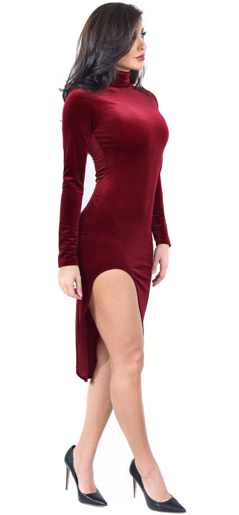 Marva Red Velvet Mock Neck Dress - Emprada