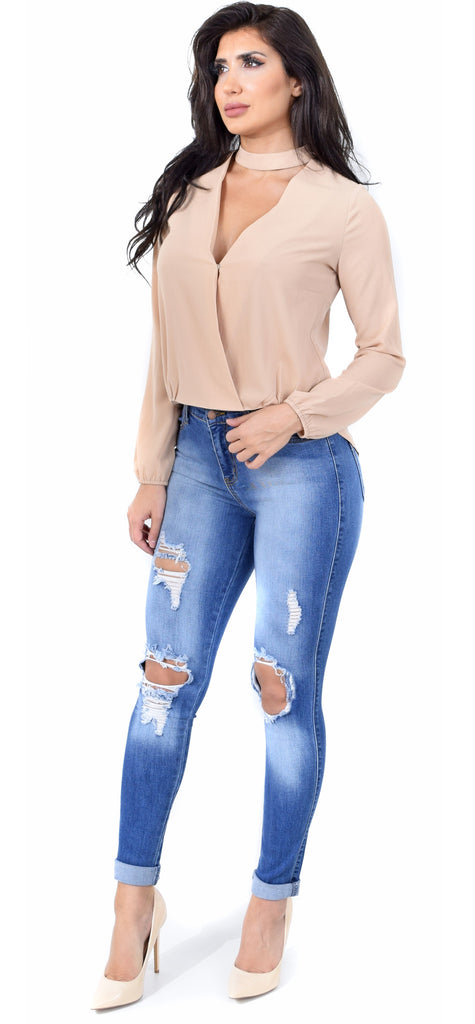 Faded Distressed Knee Jeans - Emprada