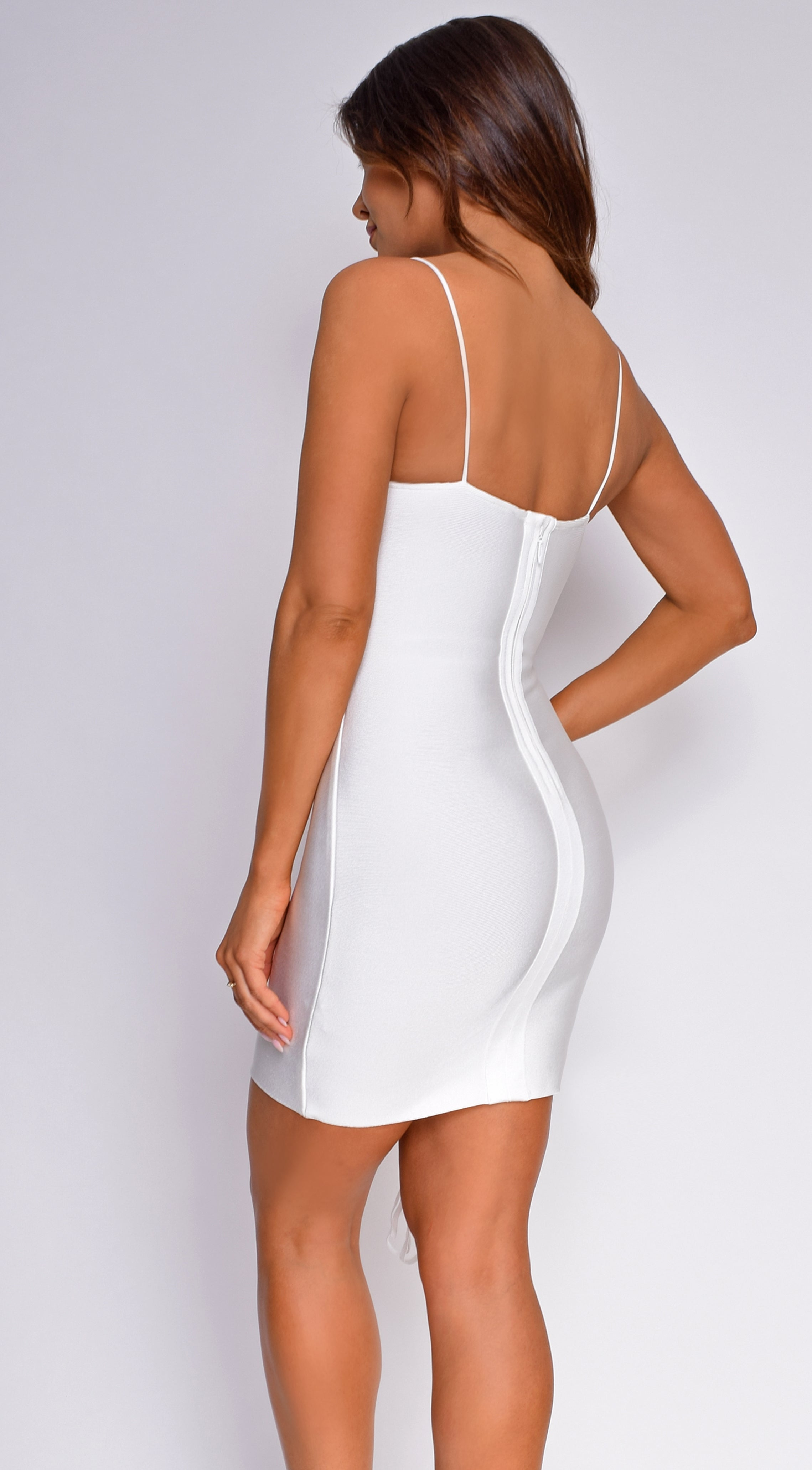 Romi White Side Lace Up Bandage Dress