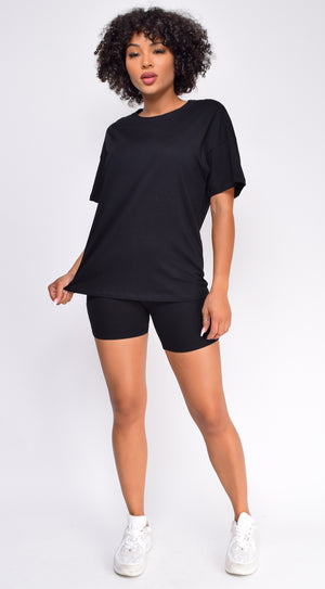Oversized Black T-Shirt And Biker Short Two Piece Set
