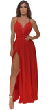 Rovena Red Lace Trim Doube Slit Maxi Dress