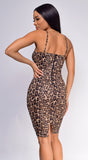 Brenna Brown Leopard Print Suede Bustier Dress