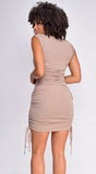 Harleen Taupe Brown High Neck Ruched Dress