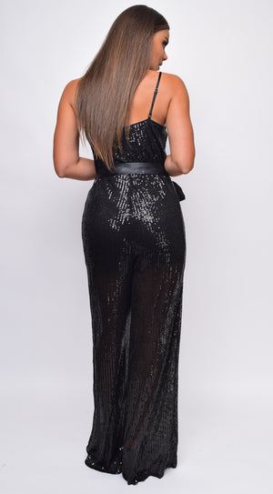 Coraline Black Sequin belted Jumpsuit