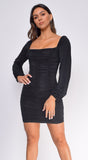 Anastasia Black Square Neck Ruched Dress