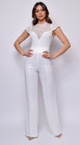 Selune White Lace Crotchet Flared Leg  Jumpsuit