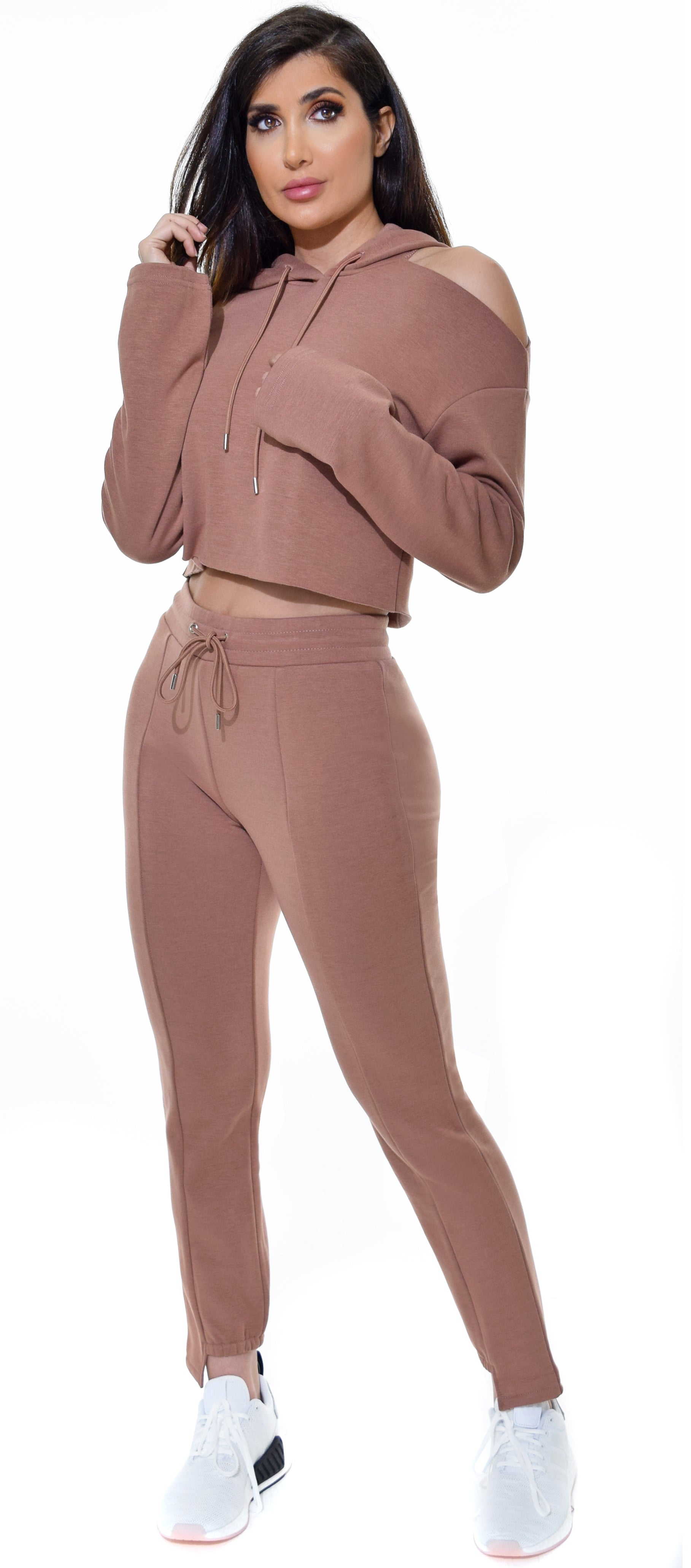 Sheya Mocha One Shoulder Cut Out Hoodie & Jogger Set