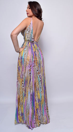 Cora Lilac Purple Multi Print leopard Maxi Dress