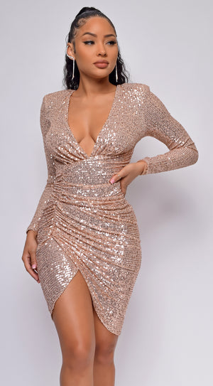 Neva Gold V Neck Wrap Sequin Dress