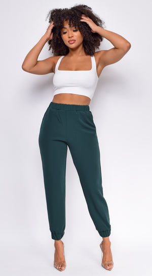 Let's Take A Run Hunter Green High Waist Joggers