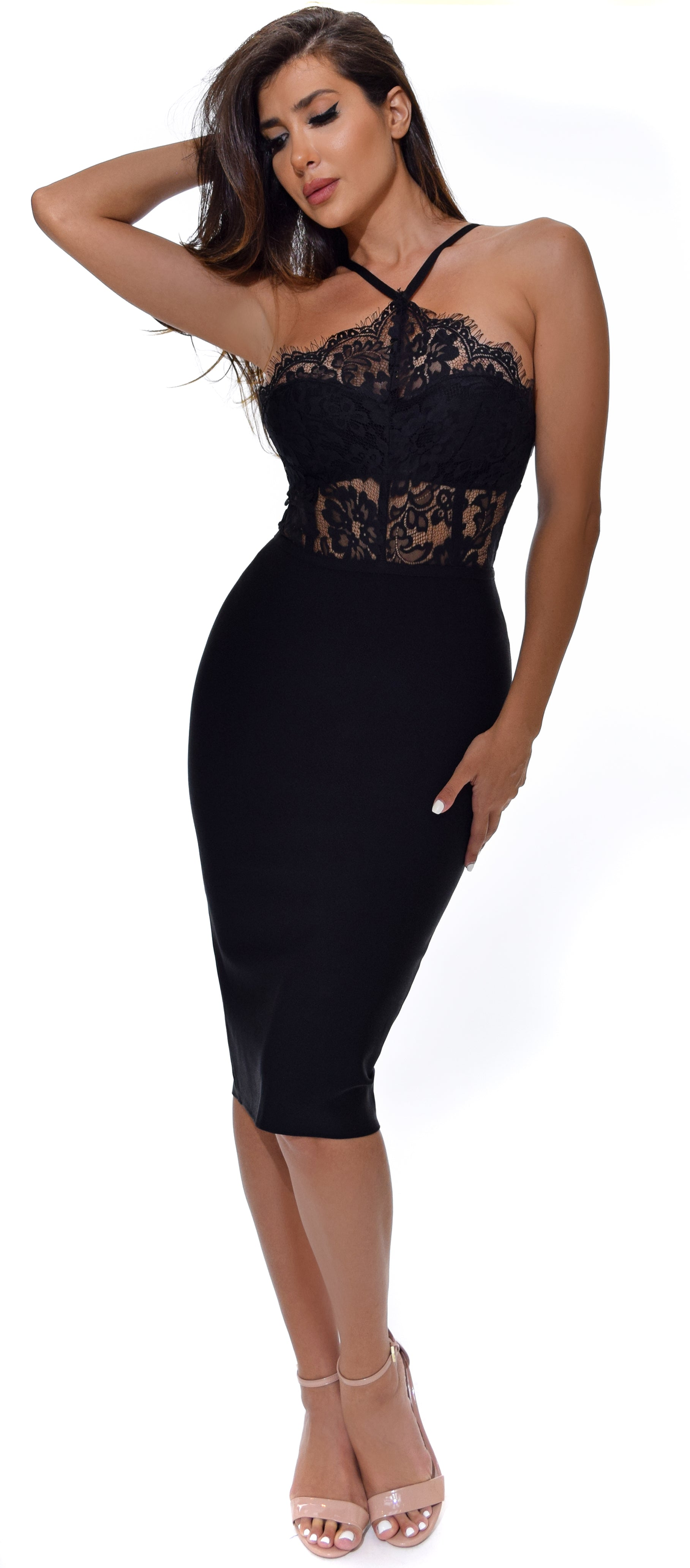 Jolanda Black Lace Bandage Dress