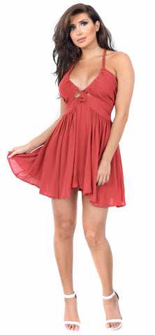 Rianna Rust Flare Dress