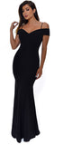 Taliana Black Off Shoulder Gown Dress