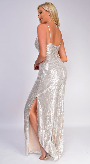 Dante Silver Sequin Wrap Wide Leg Slit Jumpsuit