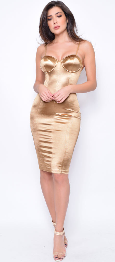Charlize Gold Satin Bustier Dress - Emprada