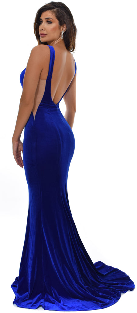 Ginevra Royal Blue Velvet Gown Dress - Emprada
