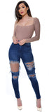 Joey High Waist Distressed Jeans - Emprada