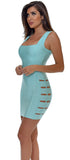 Kady Light Blue Square Neck Bandage Dress