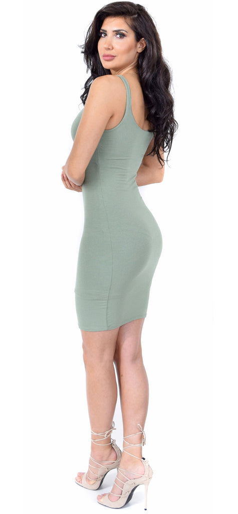 Adele Sage Square Neck Ribbed Knit Dress