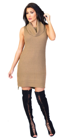 Marisa Dark Taupe Sweater Dress - Emprada