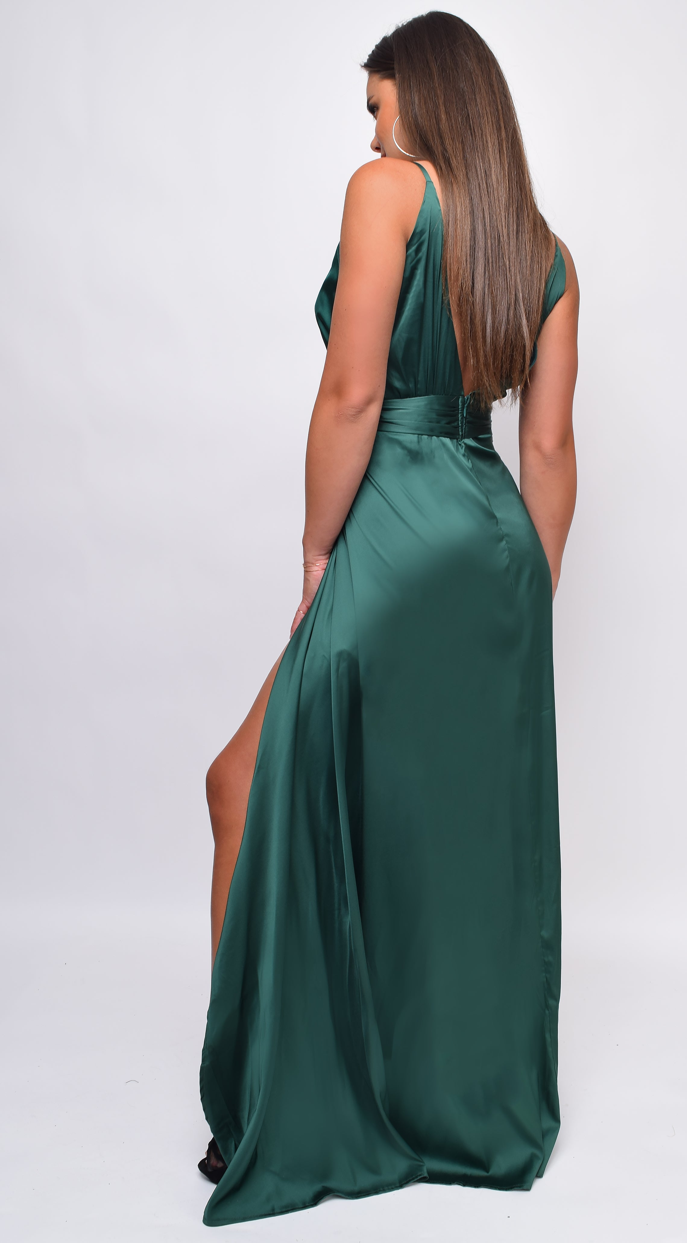 Niya Green Satin Twist Double Slit Maxi Dress