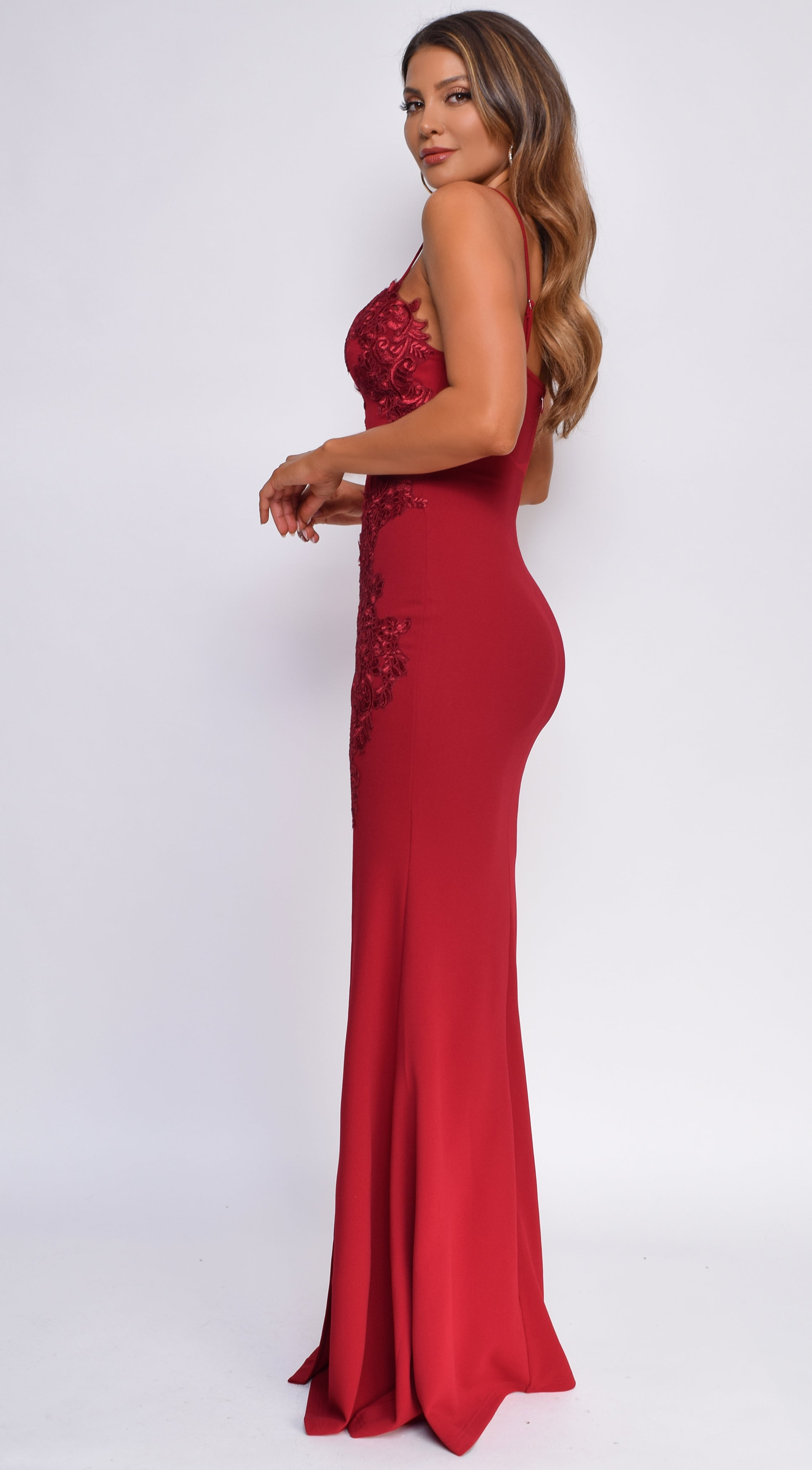 Christiana Wine Red Floral Lace Applique High Side Slit Gown