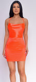 Katrice Neon Orange Satin Mini Dress