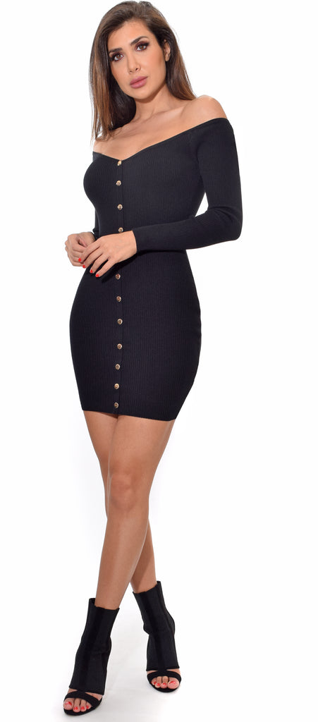 Verbena Black Off Shoulder Gold Button Dress