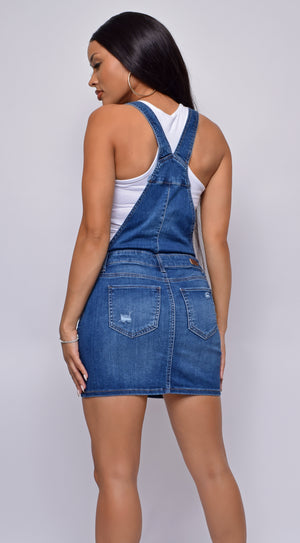 Chicago Blue Denim Skirt Overalls