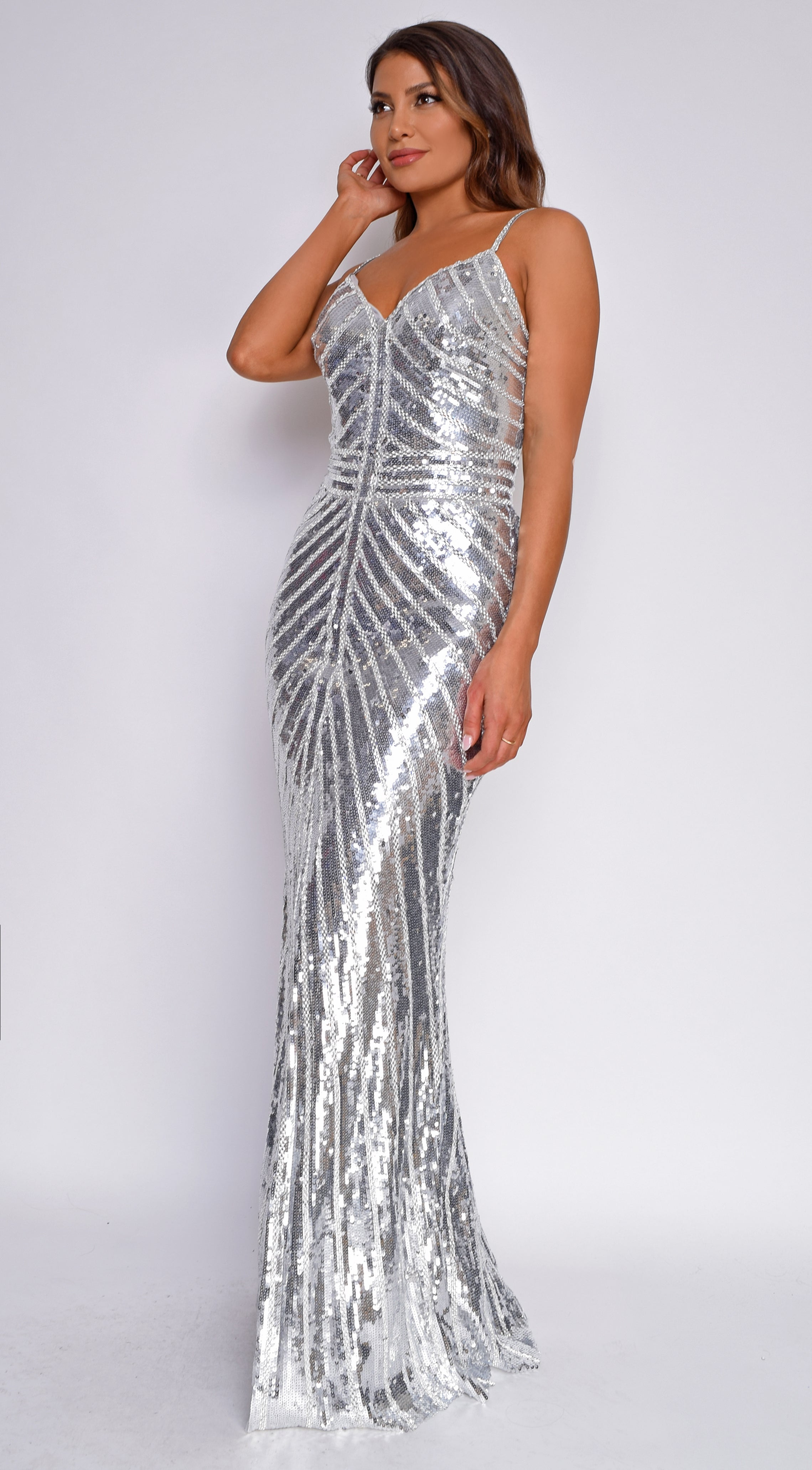 Gelina Silver Sequin Beaded Gown