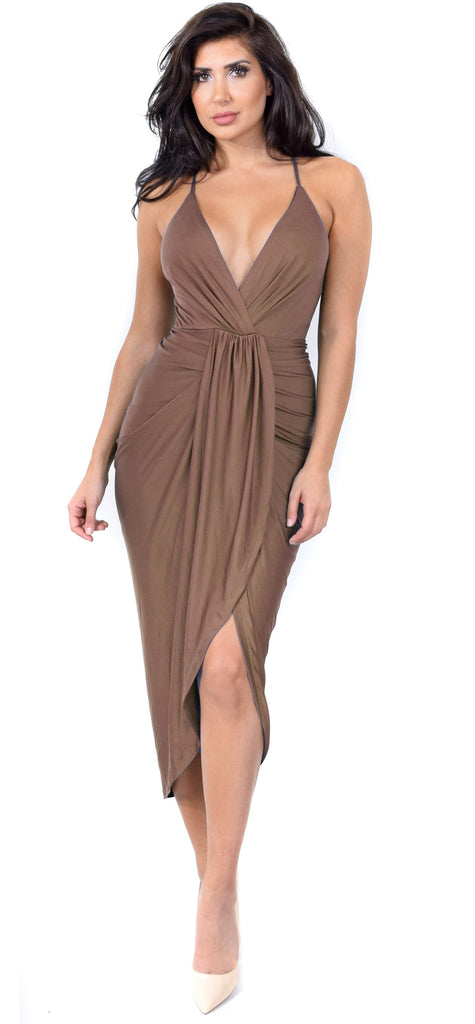 Jeanina Mocha Deep V Drape Dress - Emprada