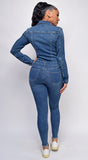Levely Blue Denim Long Sleeve Jumpsuit
